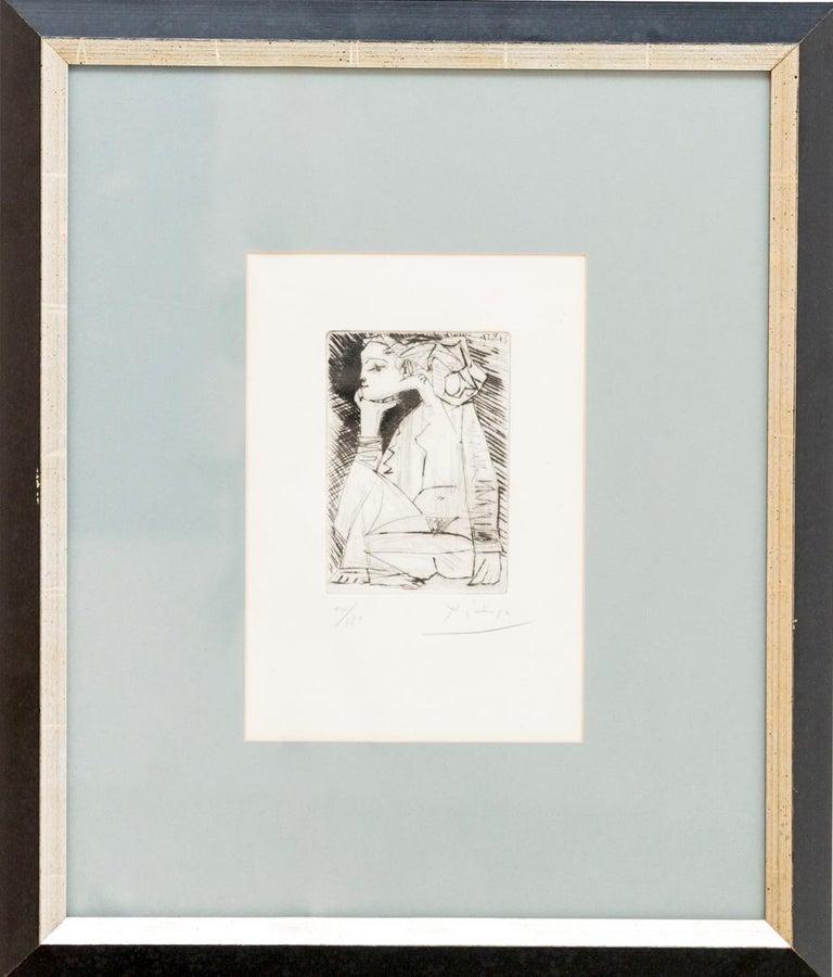 "Etching by Pablo Picasso, ""Femme Assise En Tailleur: Geneviève Laporte"", 1951 1"