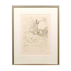 """Etching of Salvador Dali's """"Don Quichotte"""" 'Horseman' Signed in a Silver Frame"""