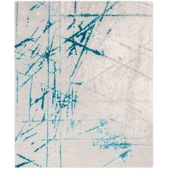 'Etchings_Teal', Hand-Knotted Contemporary, Abstract Wool and Silk Tibetan Rug