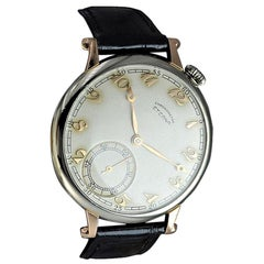 Eterna 18 Karat White and Rose Gold Art Deco Oversized Pocket Wristwatch, 1930s