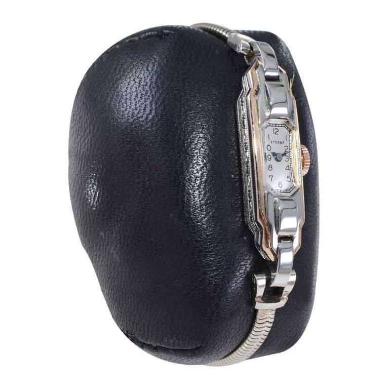 Women's Eterna 18Kt Two Tone Art Deco Ladies Bracelet Watch All Original, circa 1930's For Sale