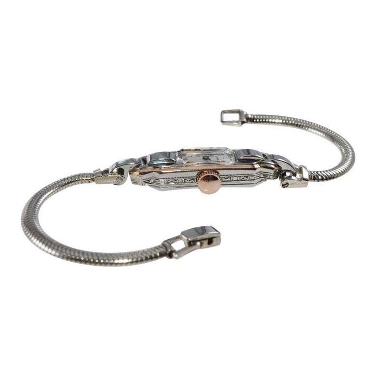 Eterna 18Kt Two Tone Art Deco Ladies Bracelet Watch All Original, circa 1930's For Sale 4