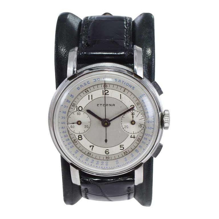 Art Deco Eterna Stainless Steel 1930's Doctor's Pulsation Chronograph Watch For Sale