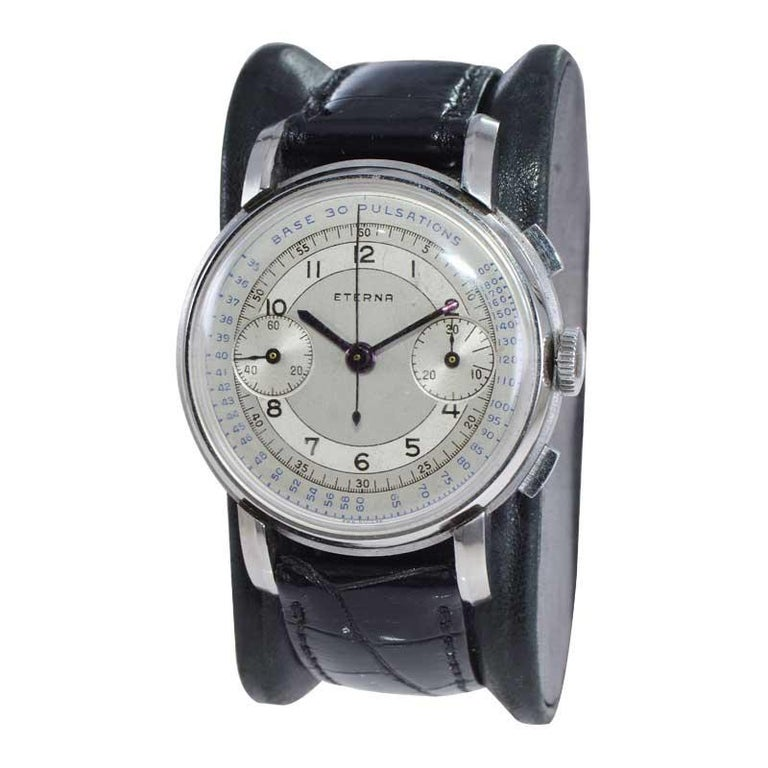 Eterna Stainless Steel 1930's Doctor's Pulsation Chronograph Watch In Excellent Condition For Sale In Long Beach, CA