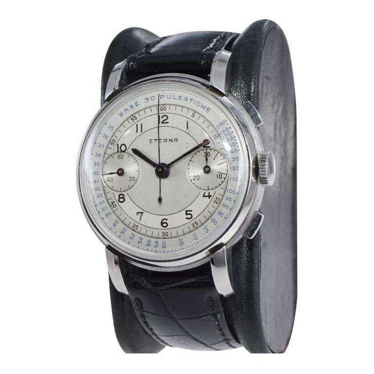 Men's Eterna Stainless Steel 1930's Doctor's Pulsation Chronograph Watch For Sale