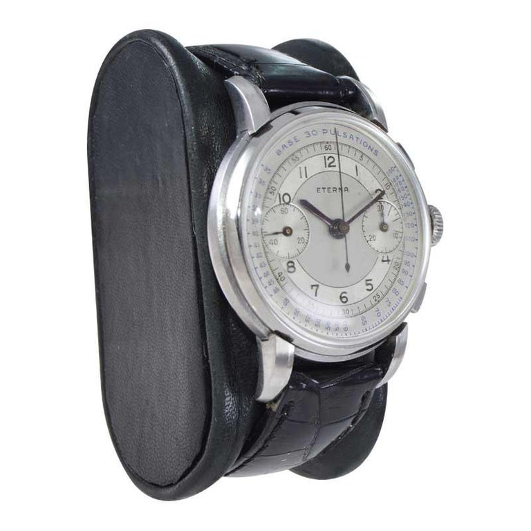 Eterna Stainless Steel 1930's Doctor's Pulsation Chronograph Watch For Sale 1