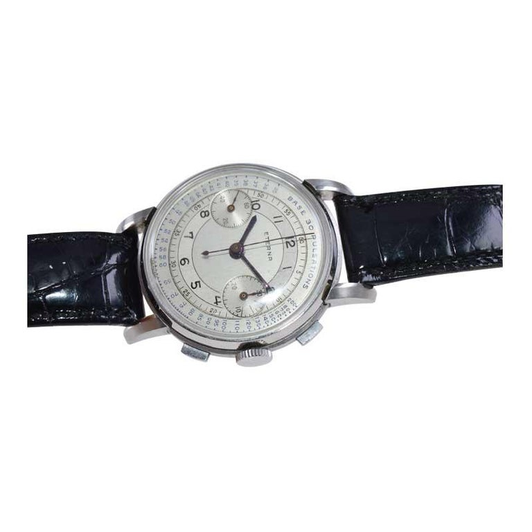 Eterna Stainless Steel 1930's Doctor's Pulsation Chronograph Watch For Sale 3