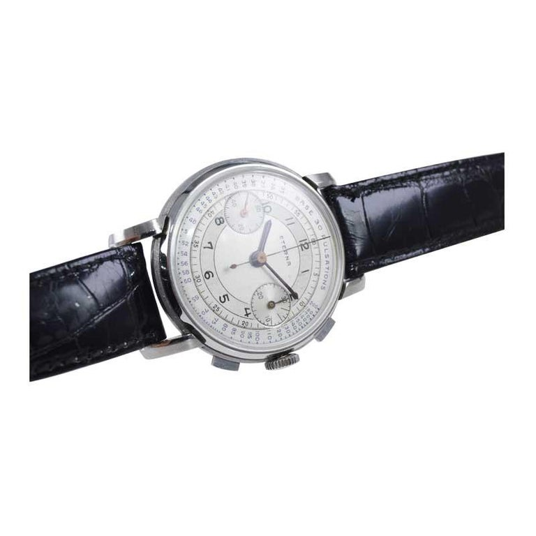 Eterna Stainless Steel 1930's Doctor's Pulsation Chronograph Watch For Sale 4