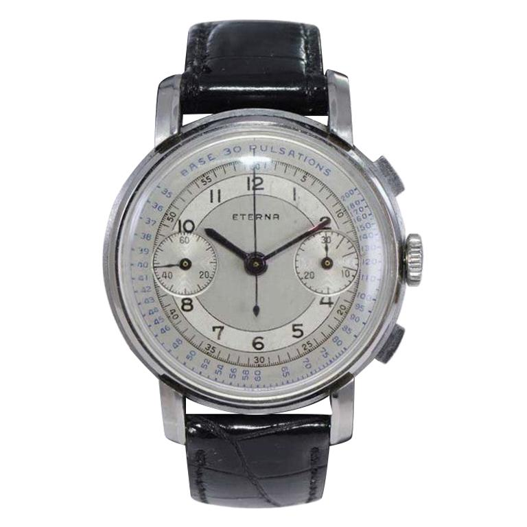 Eterna Stainless Steel 1930's Doctor's Pulsation Chronograph Watch For Sale