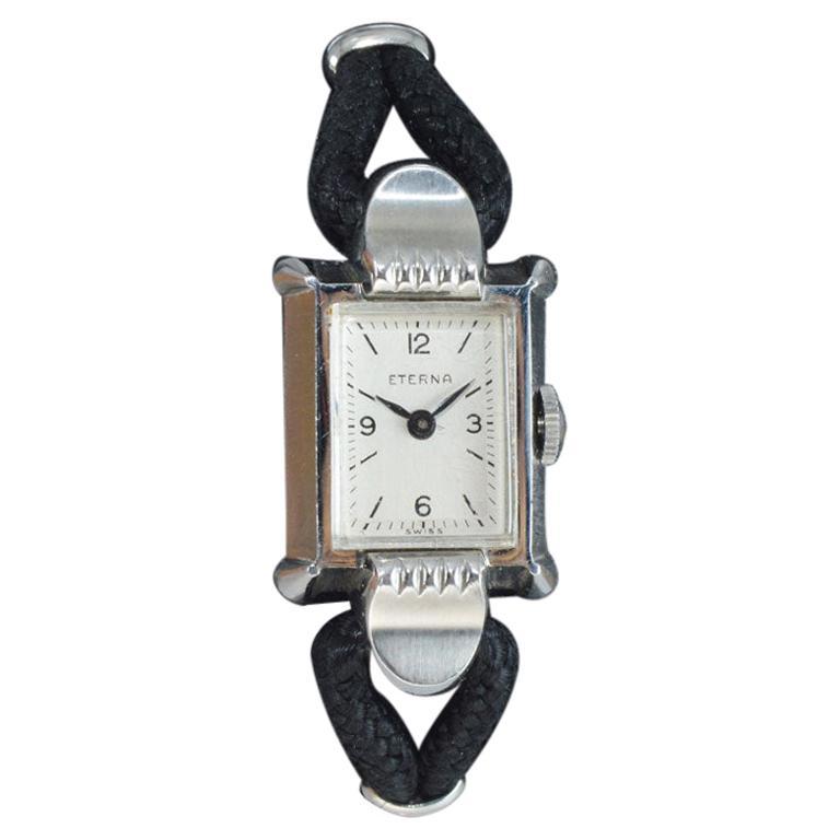 Eterna Watch Co. Steel Art Deco Ladies Watch in New Old Stock Condition, 1940s