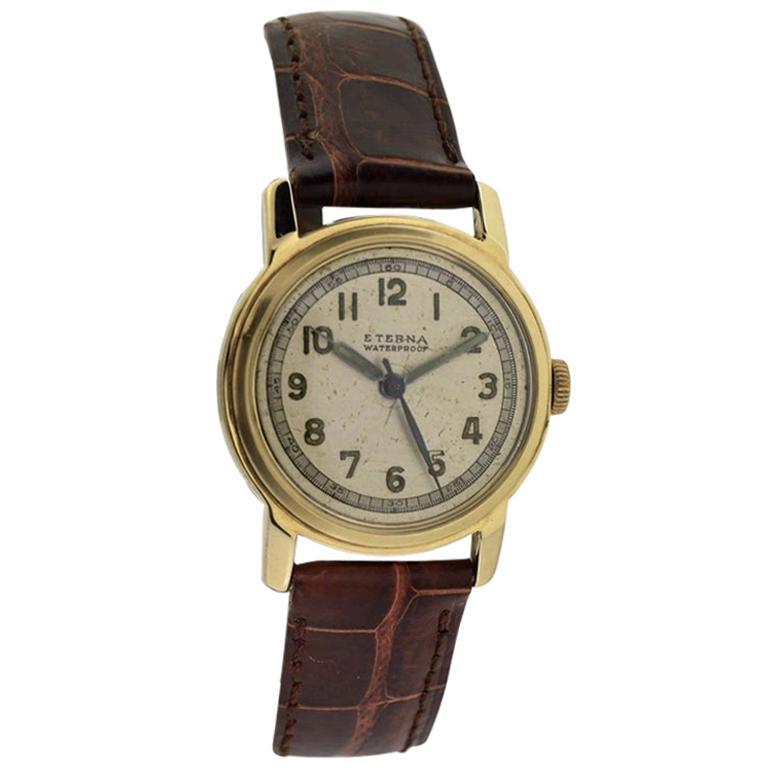 Eterna Yellow Gold Art Deco Original Dial Manual Wind Watch, circa 1940s