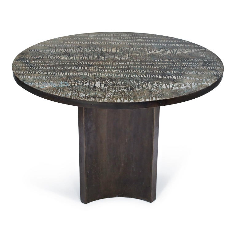 American Eternal Forest Bronze Dining Table by Philip and Kelvin LaVerne, circa 1965 For Sale