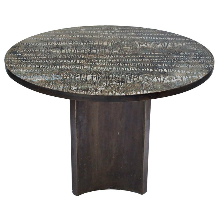Eternal Forest Bronze Dining Table by Philip and Kelvin LaVerne, circa 1965 For Sale