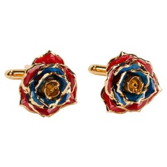 Eternal Rose Breath of Armenia Cufflinks Gold-Dipped Real Rose, 24k Gold, Glossy