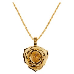 Eternal Rose Sweet Pear & Cinnamon Necklace, Yellow, Real Rose, 24k Gold