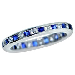 Eternity 18 Karat Band with Fine Diamonds and Sapphires
