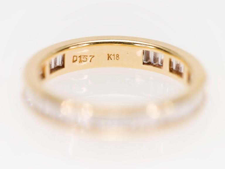 Women's or Men's Eternity Baguette Cut 1.57 Carat Diamond Band Ring in 18 Karat Yellow Gold 1980s For Sale