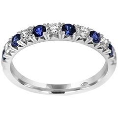 Eternity Band Half Set with Diamonds and Blue Sapphire gemstones