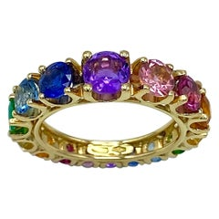 Eternity Band Rainbow Ring Sapphire Emerald Tzavorite Semiprecious 18 Karat Gold