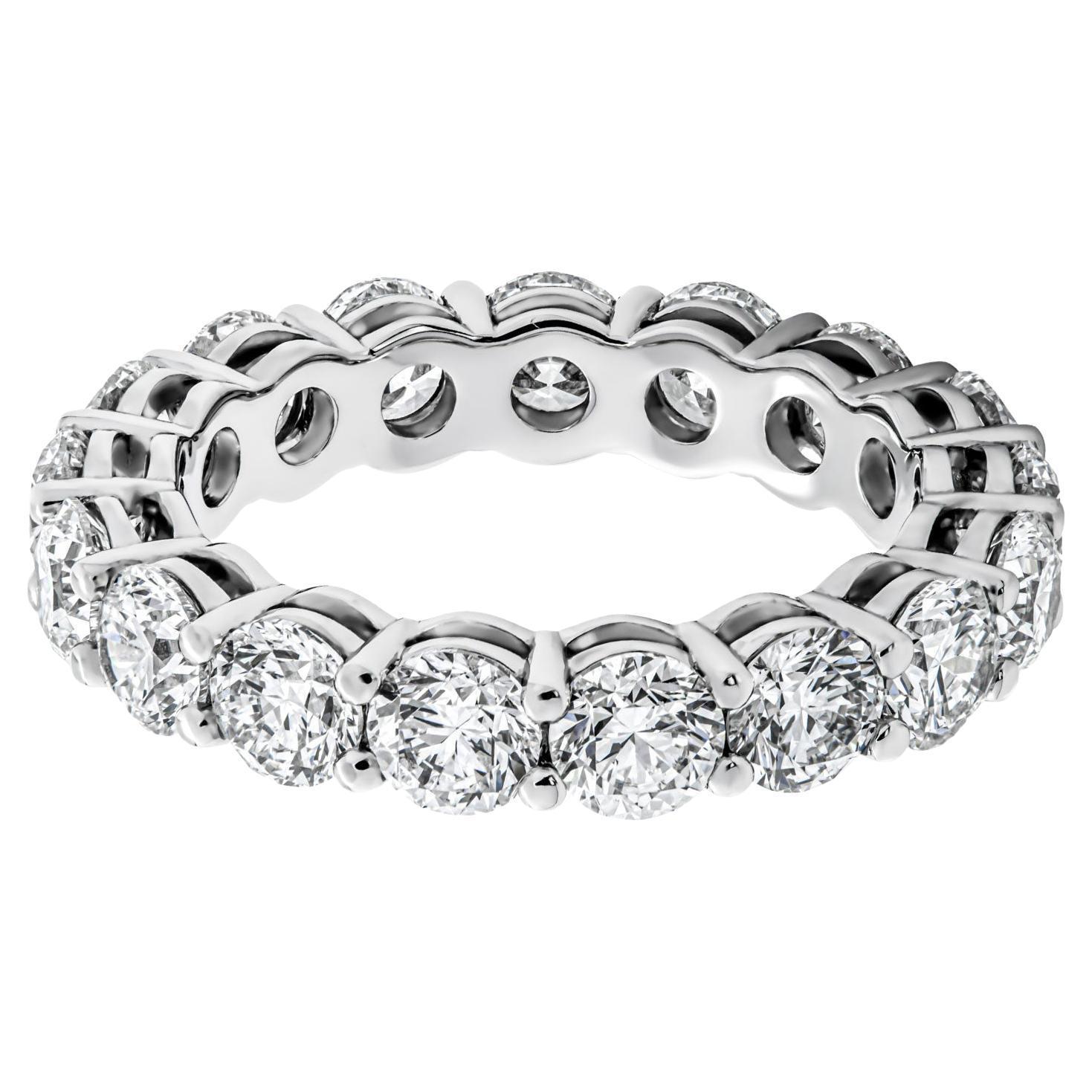 Eternity Band with 3.77 Carat Round Cut Diamonds