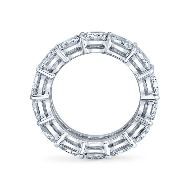 Modern Eternity Band with Emerald Cut Diamonds For Sale