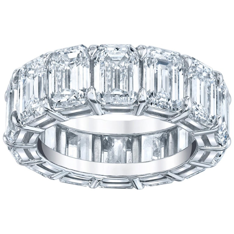 Eternity Band with Emerald Cut Diamonds For Sale
