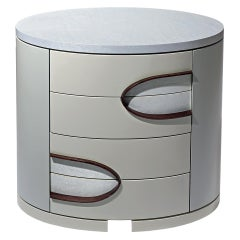 Eternity Contemporary Oval Bedside Table with Four Drawers by Luísa Peixoto
