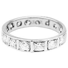 Eternity Diamond 1.00 Carat Band Ring circa 1960 White Gold