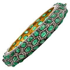 Eternity Diamond Emerald 18 Karat Gold Silver Bangle Bracelet