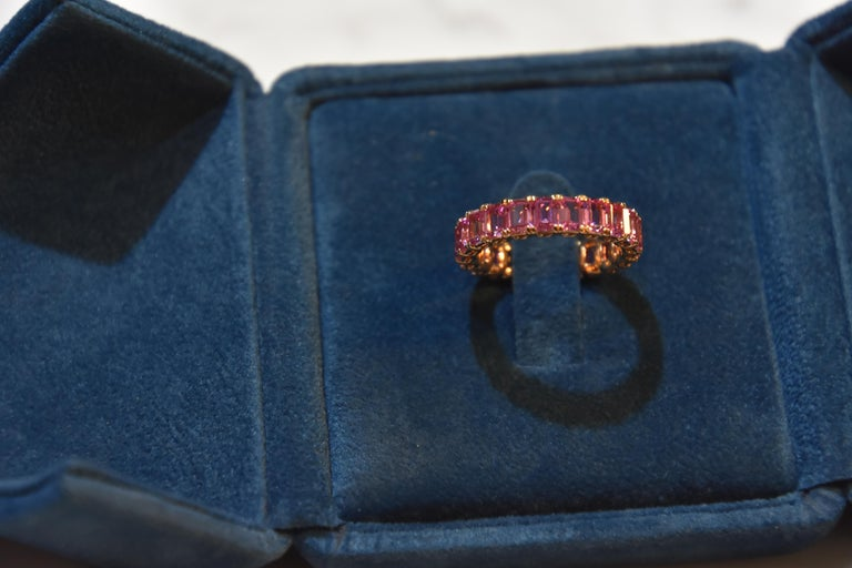Contemporary KAHN Eternity Pink Sapphire Ring in Rose/ Red Gold - ORDER only  For Sale