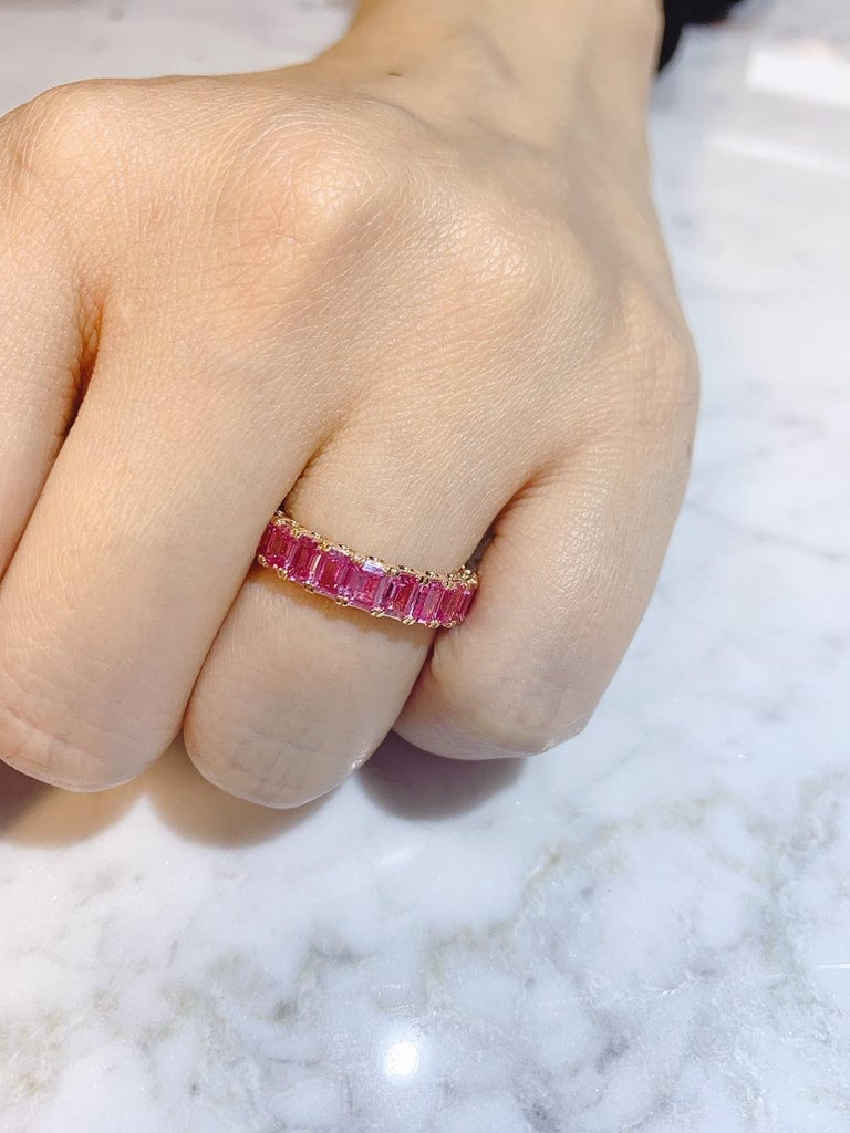 Women's or Men's KAHN Eternity Pink Sapphire Ring in Rose/ Red Gold - ORDER only  For Sale