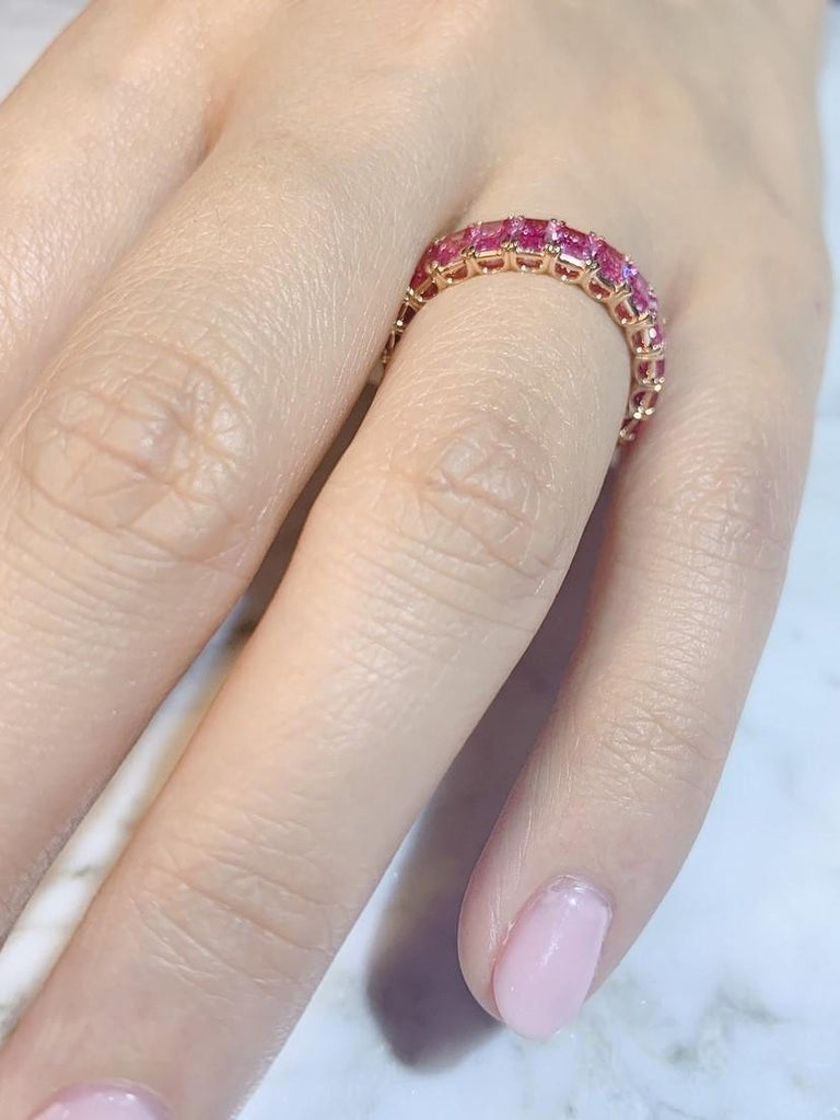 KAHN Eternity Pink Sapphire Ring in Rose/ Red Gold - ORDER only  For Sale 1