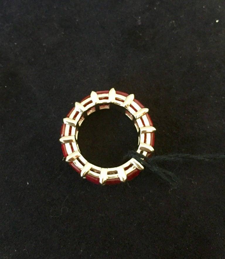 Modern Eternity Ruby Emerald Cut 10 Carat For Sale