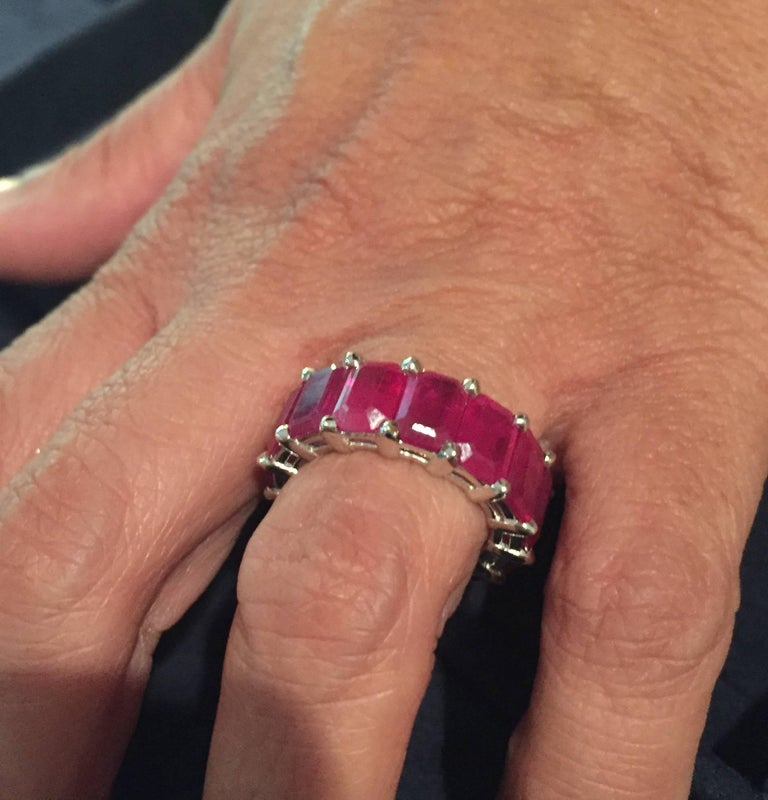 Eternity Ruby Emerald Cut 10 Carat In New Condition For Sale In Great Neck, NY