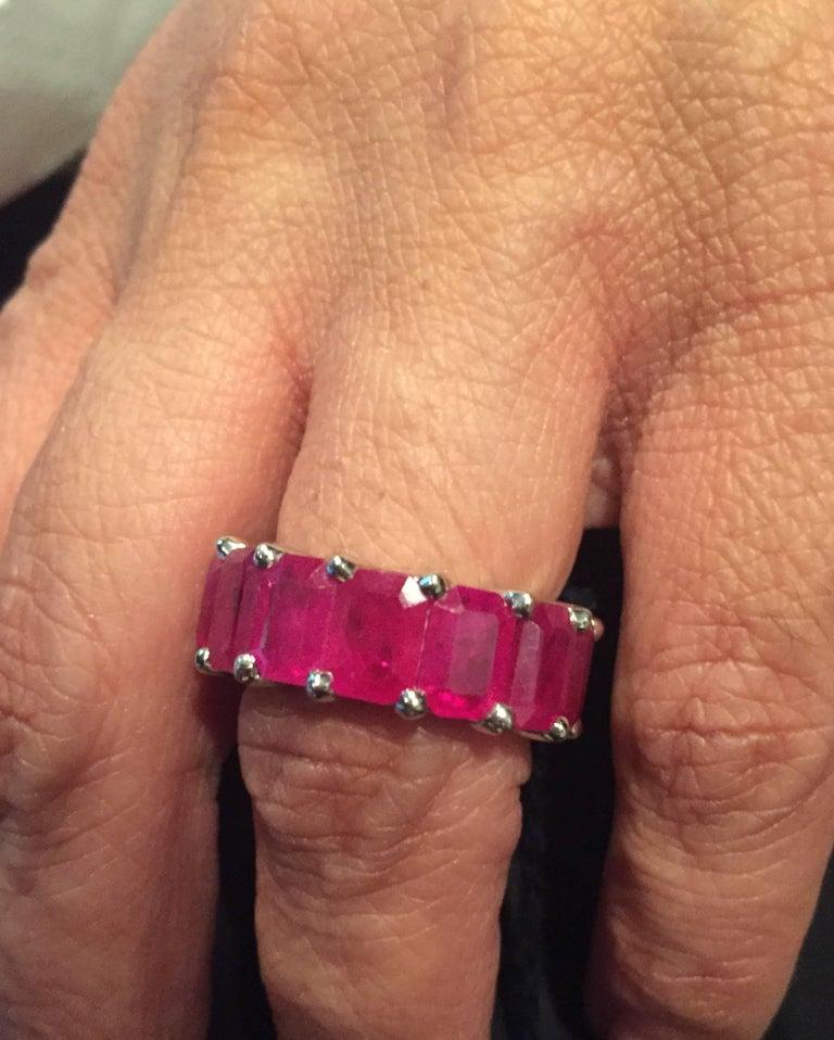 Women's Eternity Ruby Emerald Cut 10 Carat For Sale