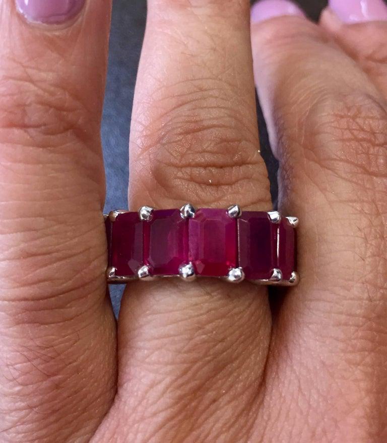 Eternity Ruby Emerald Cut 10 Carat For Sale 1