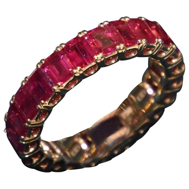 Eternity Ruby Ring in Rose or Red Gold For Sale