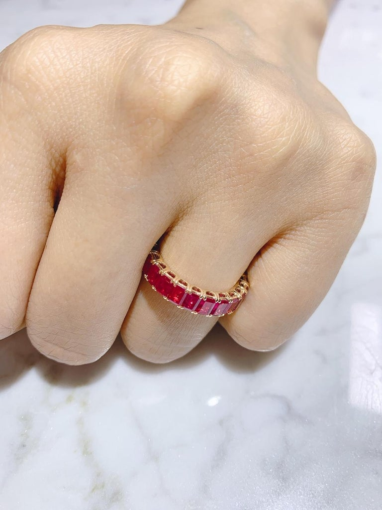 Eternity Ruby Ring in Rose or Red Gold For Sale 4