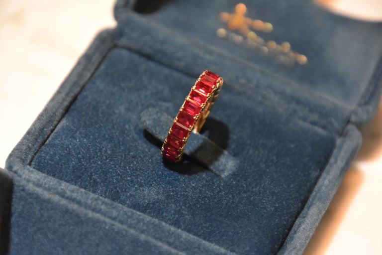Eternity Ruby Ring in Rose or Red Gold In New Condition For Sale In Tsim Sha Tsui, HK