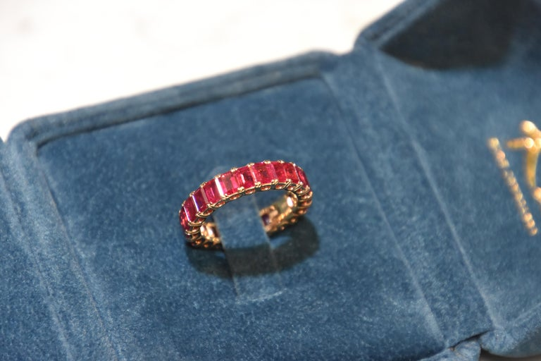 Women's or Men's Eternity Ruby Ring in Rose or Red Gold For Sale