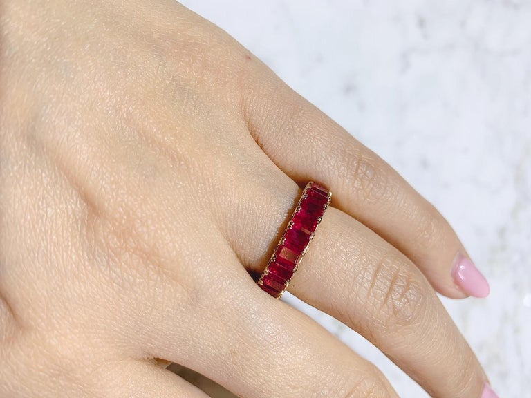 Eternity Ruby Ring in Rose or Red Gold For Sale 2