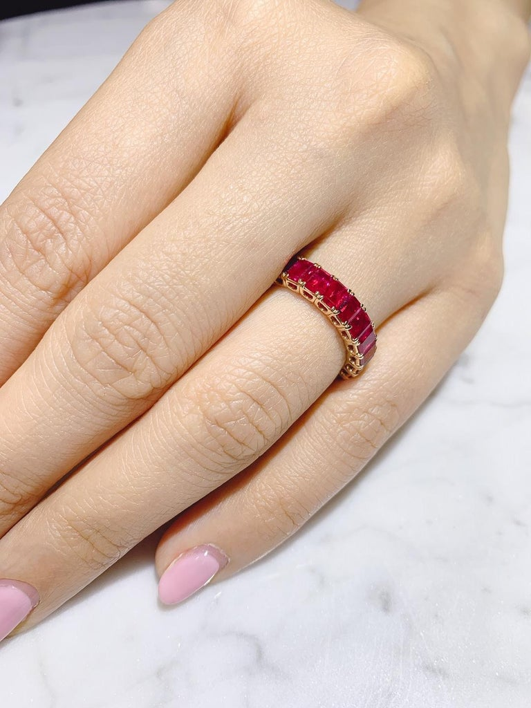 Eternity Ruby Ring in Rose or Red Gold For Sale 3