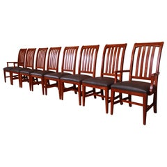 Ethan Allen Arts & Crafts Solid Cherry Wood Dining Chairs, Set of Eight