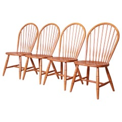 Ethan Allen Country Style Maple Windsor Dining Chairs, Set of Four