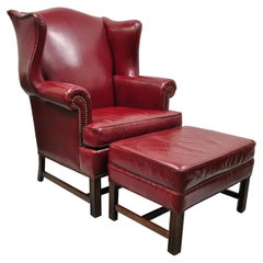 Ethan Allen English Georgian Burgundy Red Leather Wingback Lounge Chair Ottoman
