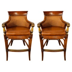 Ethan Allen Faux Bamboo Rattan and Leather Seat Bar Stools, a Pair