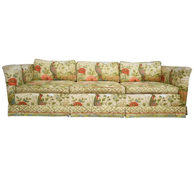 Ethan Allen Fl Chinoiserie Down Filled Pea Sofa With