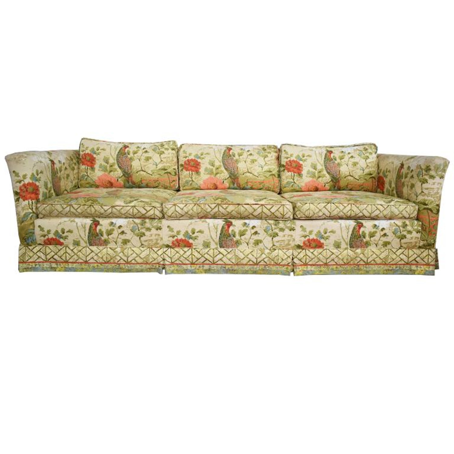 Ethan Allen Floral Chinoiserie Down Filled Peacock Sofa With Low