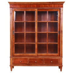 Ethan Allen French Regency Cherry Wood Lighted Bookcase or Display Cabinet