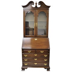 Ethan Allen Georgian Court Cherrywood Secretary Desk Curio with Bookcase Top